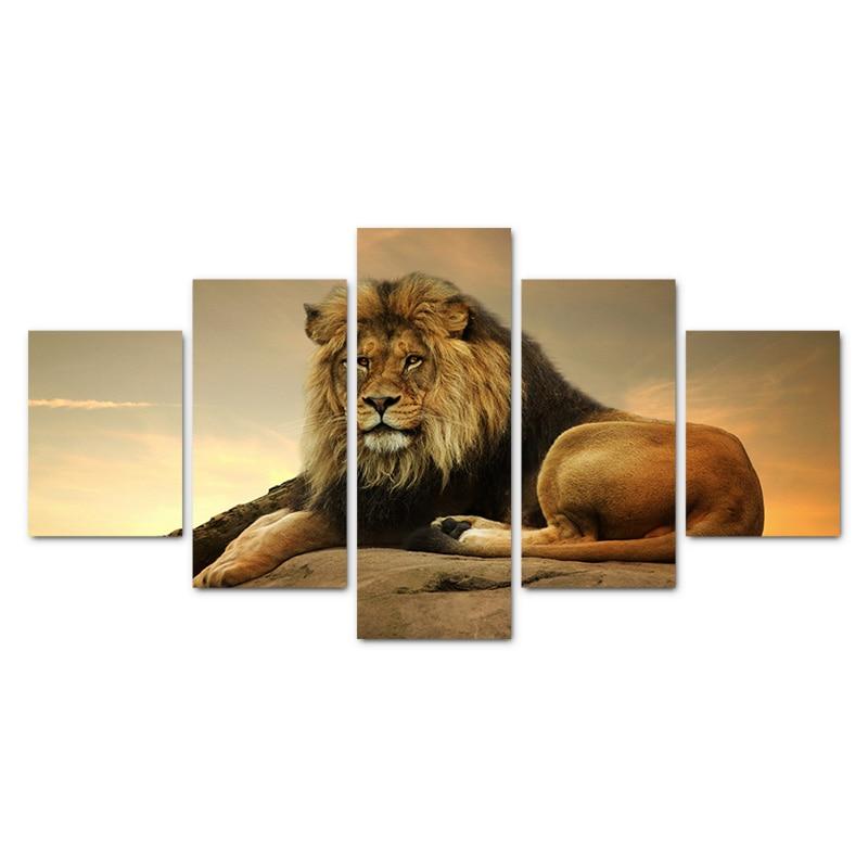 Modern home 5-panelowy modułowy obraz na płótnie król lew obraz - Wystrój domu - Zdjęcie 3