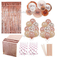 Rose Gold Decoration Party Paper Fan Set Table Runner Decotation Paper Straws Wedding Engagement Party Home Decor Suppliers DIY
