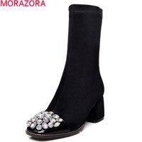 2017 New Fashion Sheepskin Leather Women Boots Autumn Winter Ankle Boots Round Toe Sexy Rhinestone Lady