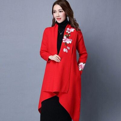 Элегантный свитер плащ пальто для женщин Цветочная вышивка кимоно Осень Зима длинное женское пальто длинный рукав Тренч пальто верхняя одежда - Цвет: Красный