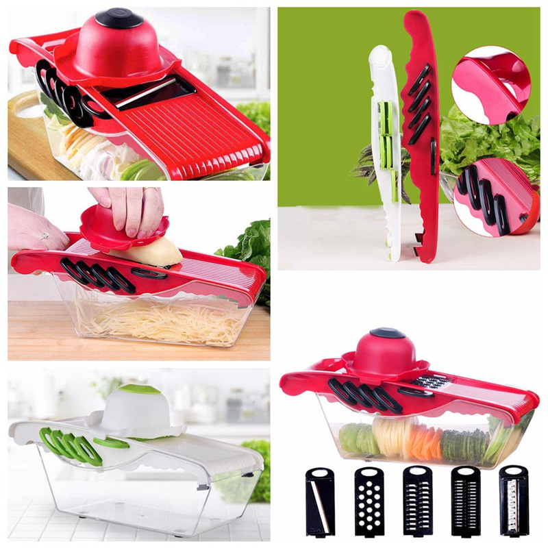 New White/Red Kitchen Tools Home Supplies Multifunctional Shredder Grater Wire Cleaner Potato Cut