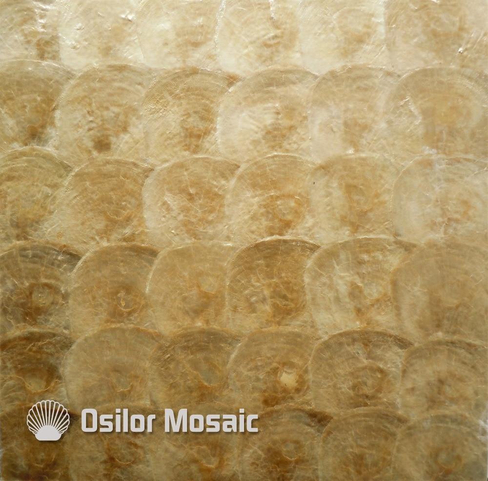 Goldene Farbe Natrliche 100 Capiz Shell Perlmutt Mosaik Fliesen Fr Wohnzimmer Oder Decke Dekoration