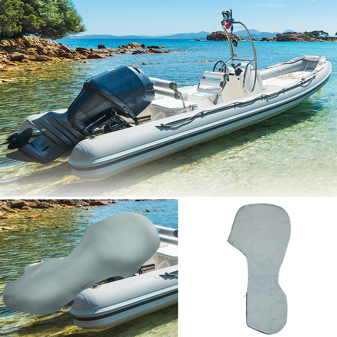 600D Oxford For 6-225HP Motor Full Boat Outboard Engine Cover Waterproof US