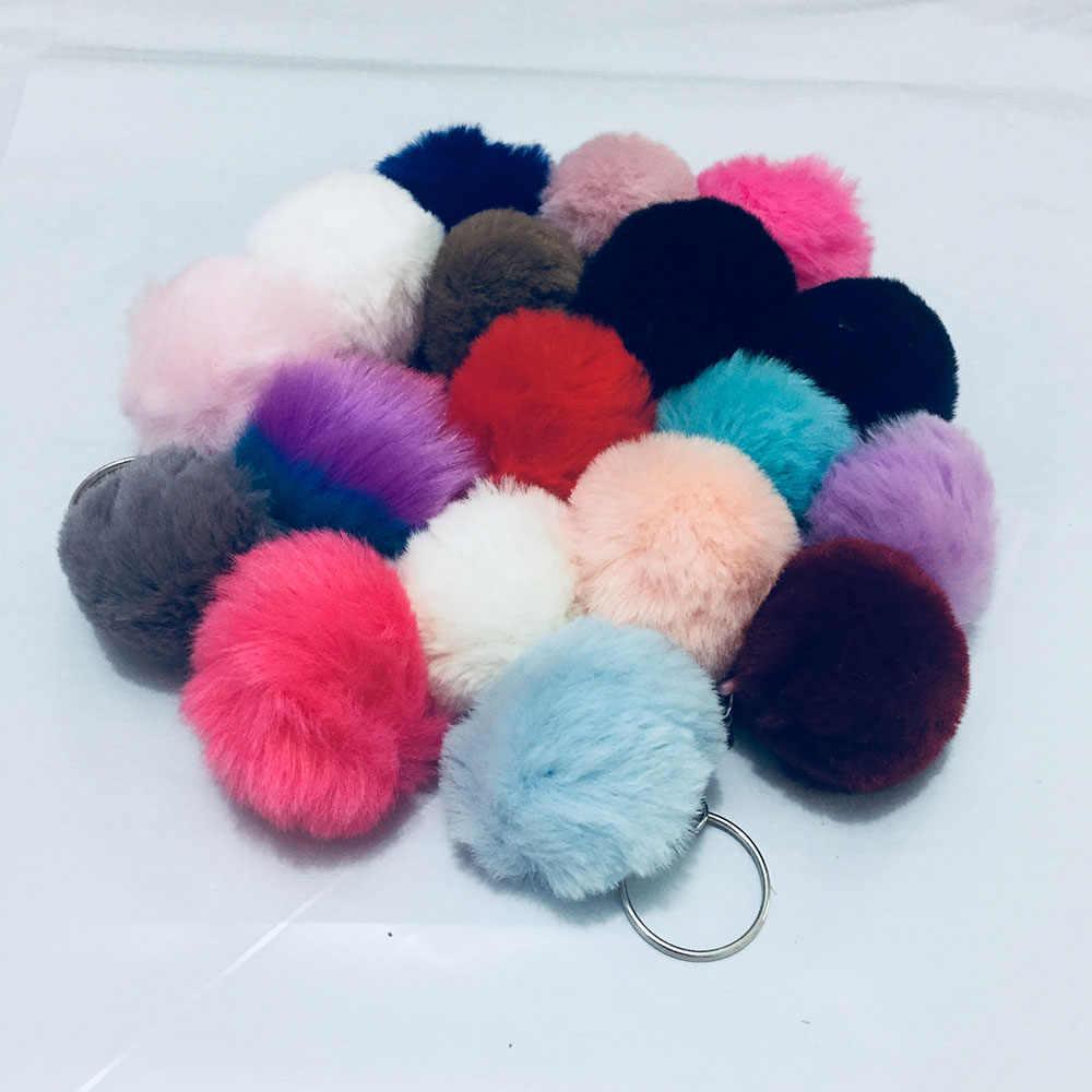 17 cores novo 4cm mini adorável bola de pele de coelho fofo chaveiro pompom pele de coelho artificial chaveiro feminino saco do carro chaveiro