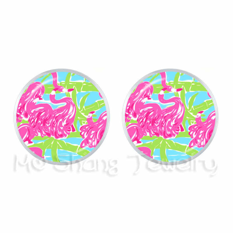Pink and Green Flamingo Lilly Pulitzer Stud Earring Lilly Inspired Lulu Flamingo Bird Earrings 12mm Glass Dome Ear For Women