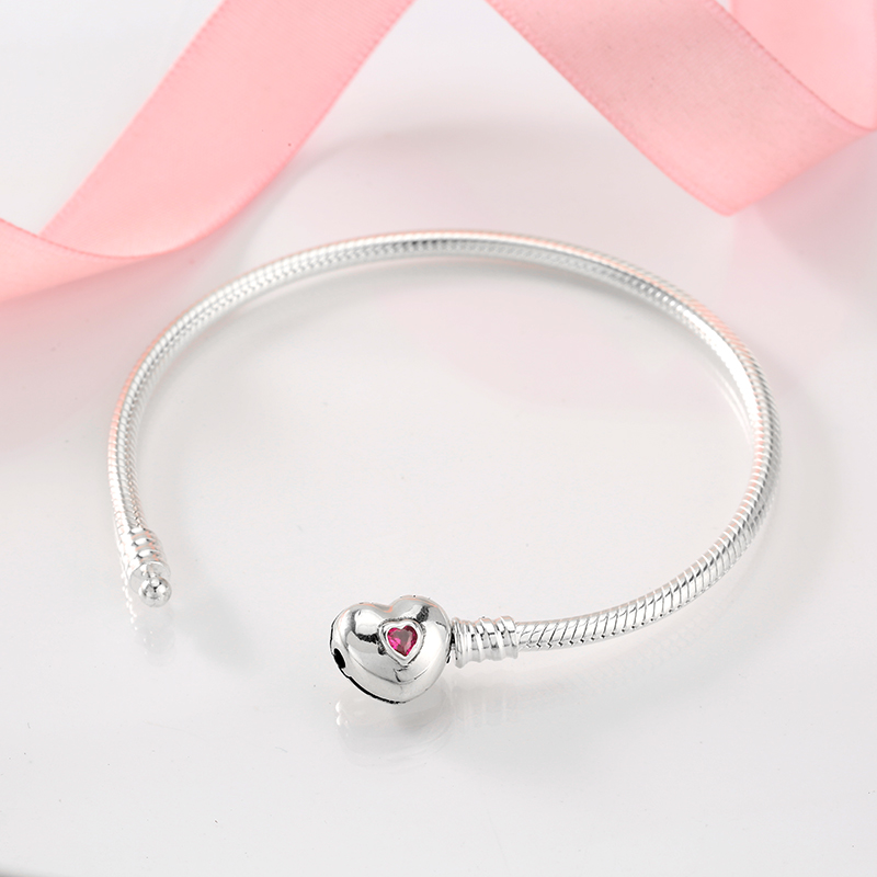 925 Sterling Silver Charms Love Heart Bracelet