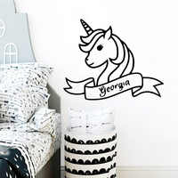 Decoración de pared de unicornio adorable pegatina de moda para sala de estar dormitorio pared arte calcomanía