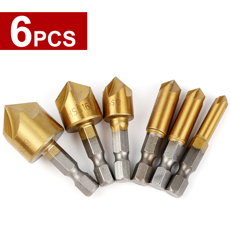 HOEN 6pcs Drill Bit Round shank 5 Flute HSS Hard Metals natural color Five Edge Chamfer Chamfering End Mill Cutter Countersink