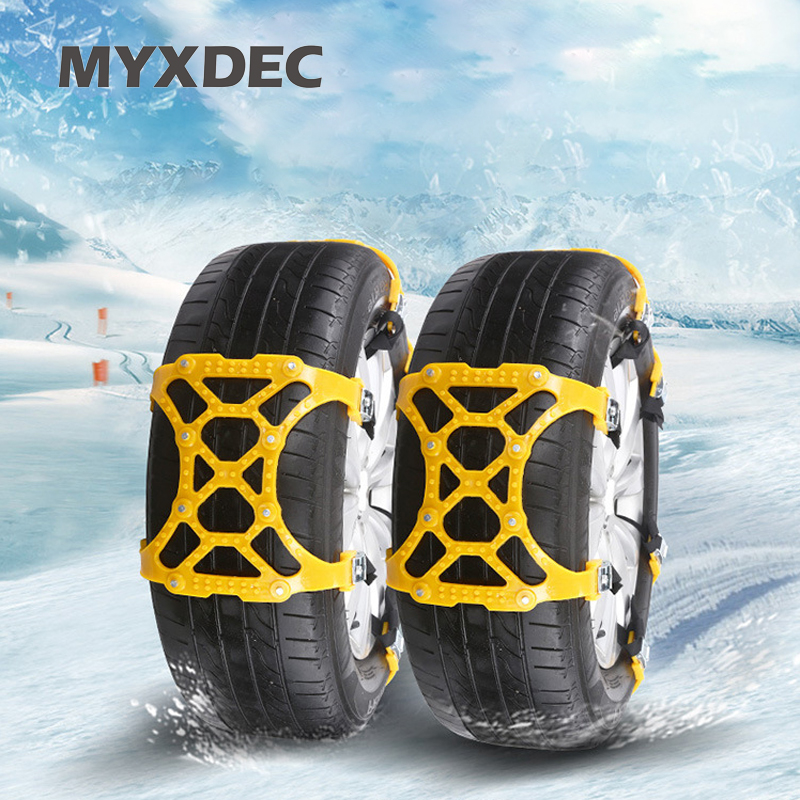 Bestong Tire Chains Car Snow Chains Snow Tire Chains Car Safety Anti Slip Chain Anti-Slip Car Emergency Chains Thickening Anti-Skid Chains SUV Tire Snow Cables 6-Pack with Snow Shovel Glove
