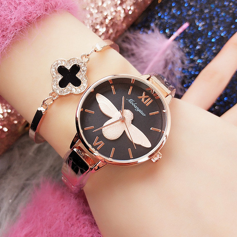 3D Bee Luxury Watch Women Dress Bracelet Watch Fashion Quartz Wrist Watch For Women Classic Brand Rose Gold Ladies Clock Woman duoya brand women bracelet luxury wrist watch for women watch 2018 crystal round dial dress gold ladies leather clock watch