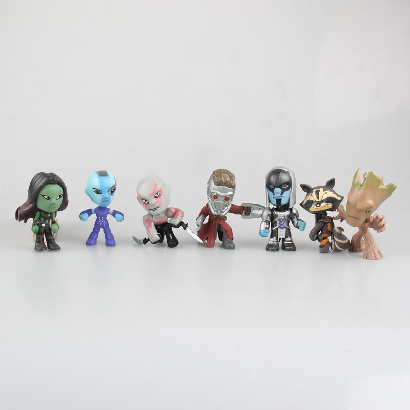 Seven Types Cute Q Version Mini Guardians Of The GalaxyTree Man Stellar Duke Rocket Raccoon Destroyer Model Figures Children Toy