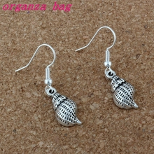 20 pair Antique silver Conch Shell alloy Charms Earrings With Fish hook Ear Wire 10x36mm A-192e