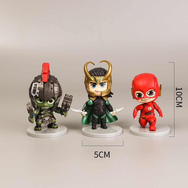 6 pçs/set Versão Marvel Q Deadpool Animador Avengers Alliance Capitão América Black Panther Aço Spider-Man Toy Boneca