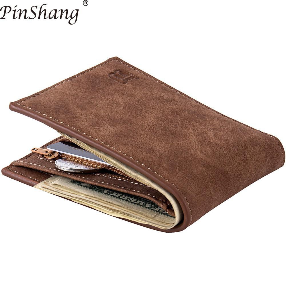 Men Wallets Fashion Dollar Slim Purse Money Clip Short Money Purses PU Leather Zipper Wallet Men Coin Bag Casual Clutch Zk30