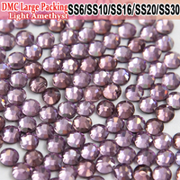 Bulk Packing Strass Glass Material Hot Fix Light Amethyst Heat Transfer Design Iron On Hotfix Rhinestones For Skating Dress