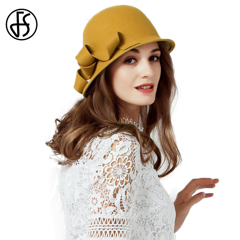44918c59de7 FS Winter Yellow Felt Wool Hat 2018 Women Elegant Black Wide Brim Fedora  Floral For Bowler Church Cloche Hats Sombrero Mujer