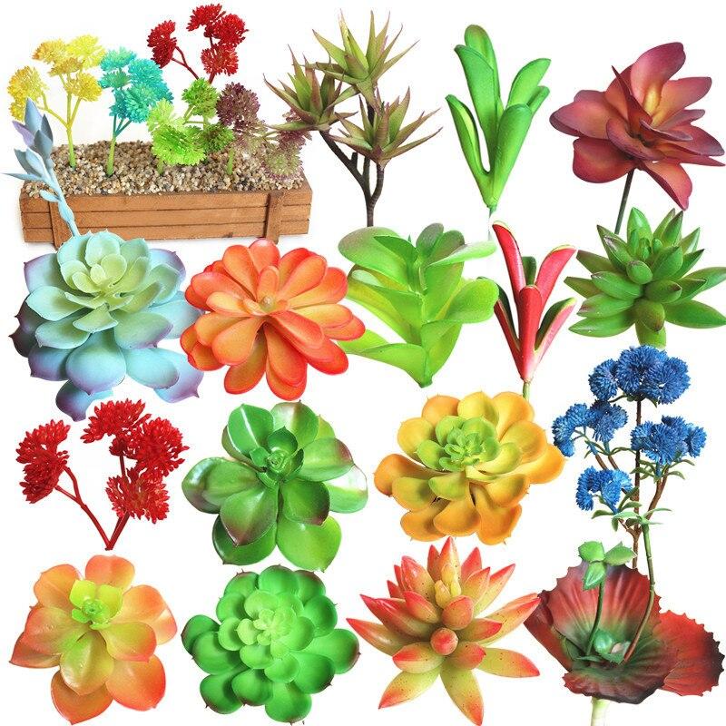 1pc Tiny Artificial Succulent Plants Lotus Landscape Flower Various Decorative Mini Green Plants Home Garden Arrangement Decor