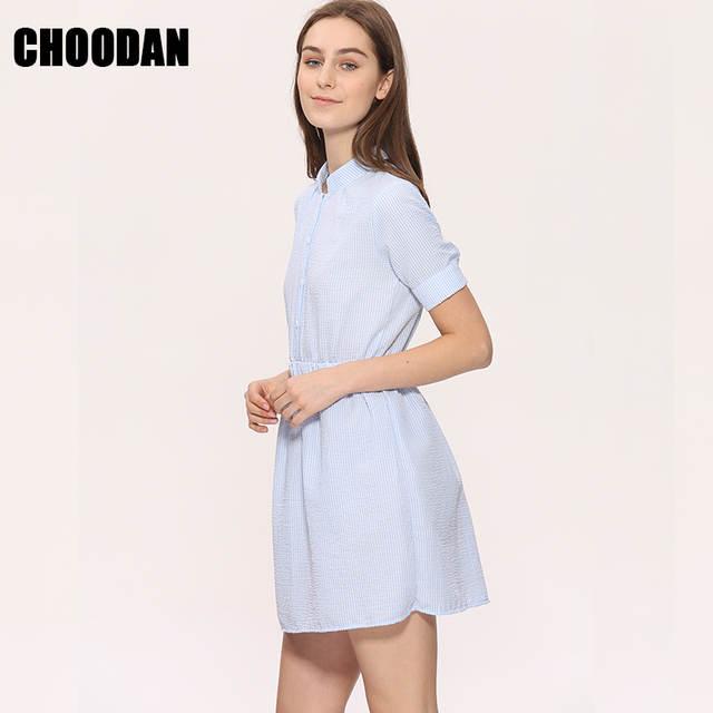 c9a42542ba placeholder Camisa de Vestido Das Mulheres Vestido de Verão 2018 Coreano  Moda Feminina Manga Curta Listrada Branca