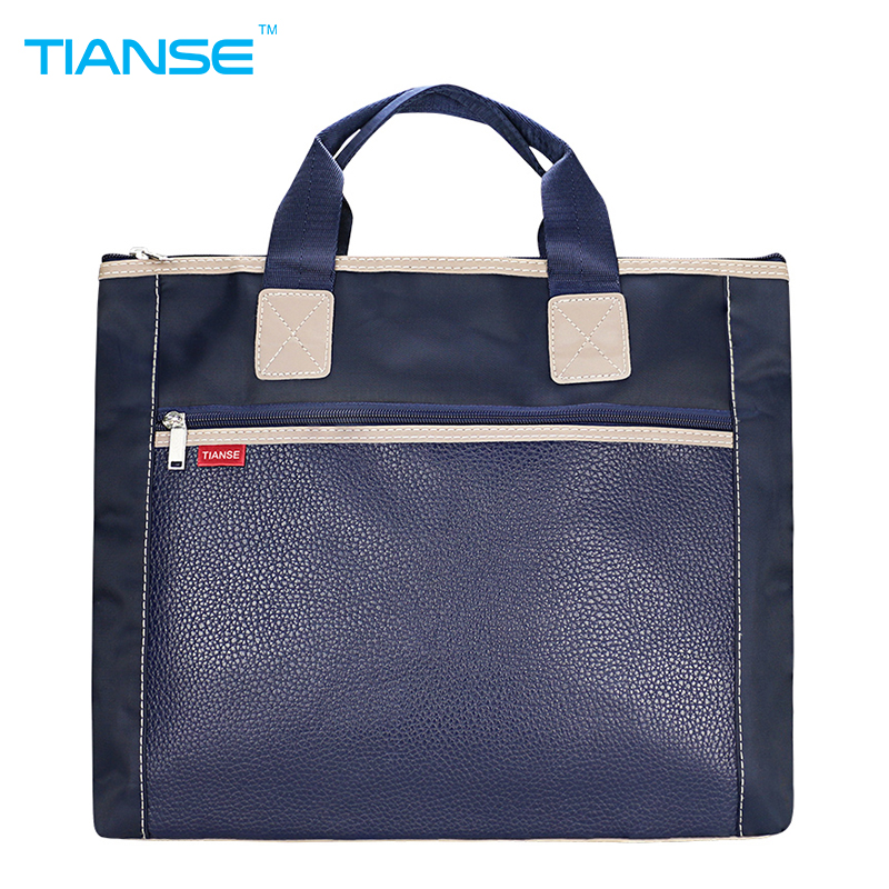 TIANSE PU+canvas Business Commercial Document Bag Meeting office Bags Tote file folder Filing Pocket Side Zipper protable A4 water proof football texture zipper style b6 document file pocket yellow 3 pcs