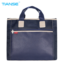 TIANSE PU+canvas Business Commercial Document Bag Meeting office Bags Tote file folder Filing Pocket Side Zipper protable A4