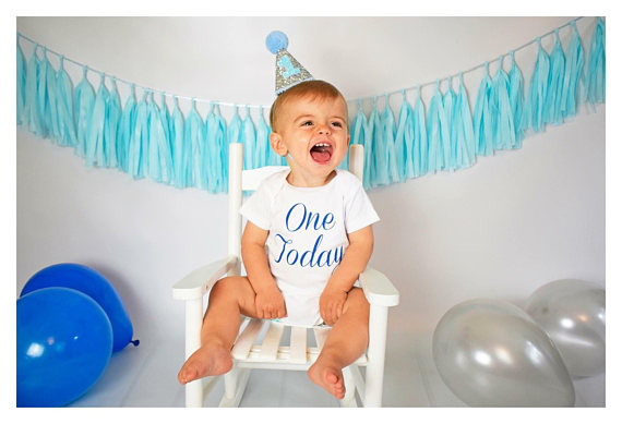 First Birthday Hat Blue 1st Baby Silver Glitter Photo Prop Smash Cake Party In Hats From