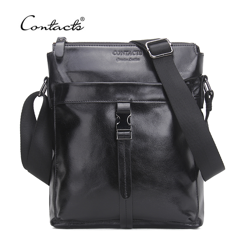CONTACTS Famous Brand Genuine Cow Leather Men Bag Casual Business Mens Messenger Bag Vintage Mens Crossbody Bag Bolsas Male