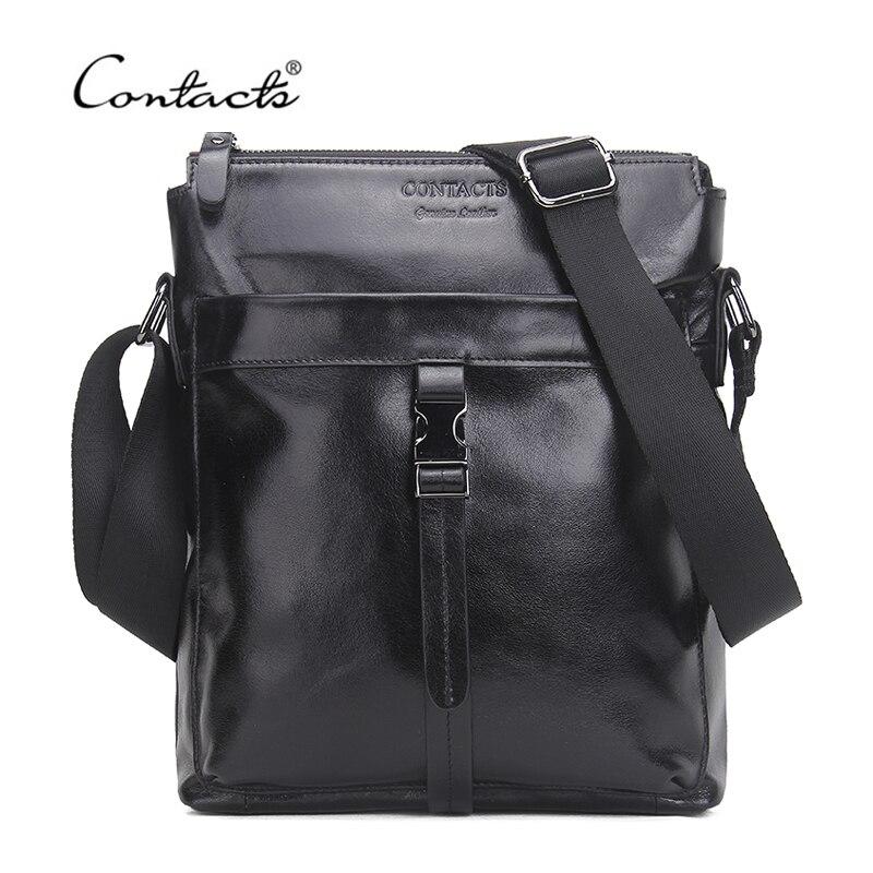 CONTACT'S Famous Brand Genuine Cow Leather Men Bag Casual Business Mens Messenger Bag Vintage Men's Crossbody Bag Bolsas Male
