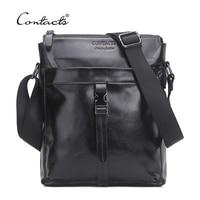 CONTACT S Famous Brand Genuine Cow Leather Men Bag Casual Business Mens Messenger Bag Vintage Men