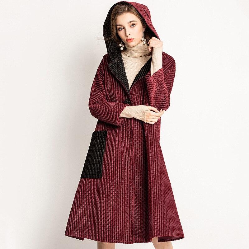 Hiver velours femmes Pelated à capuche veste de haute qualité rembourré pardessus élégant manteau