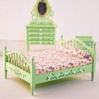 1 pcs 1:12 Dollhouse Miniature simulation vert lit En Bois Meubles jouet chambre jouer à faire semblant jouets pour enfants filles poupées nouveau