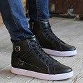 Новый 2016 Мода Pu Кожа Мужская Обувь Высокий Верх Дышащий Хип-Хоп Плоские Мужские Взрослый Мужчина Обувь Бесплатная Доставка