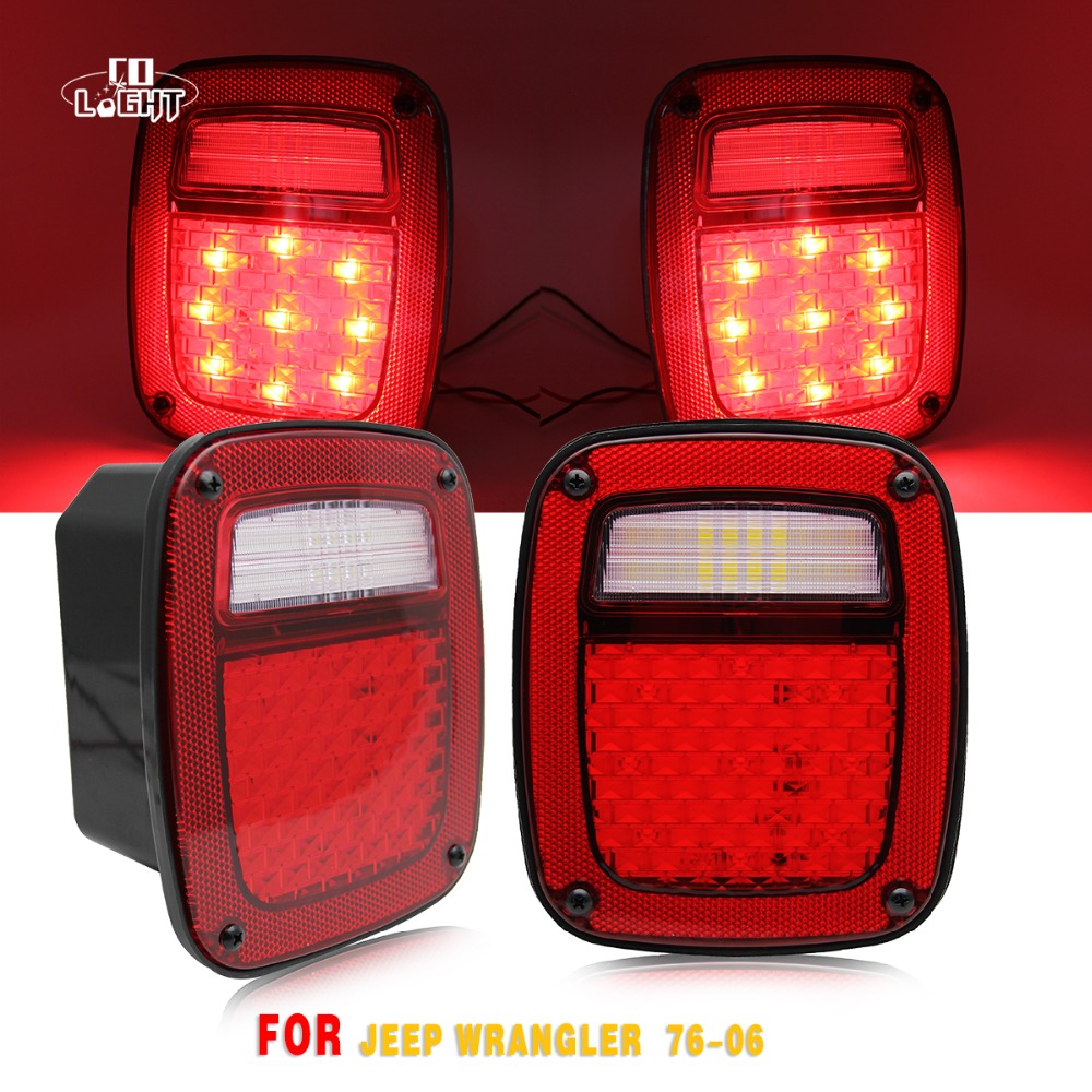 COLIGHT Led Signal Reverse Lamp 1 Pair License Plate Light 12V Rear Tail Brake Light for 1976-2006 Jeep Wrangler Jk Car Styling sitaile universal 12v 30 led car license plate backup reverse brake rear light lamp bar red white waterproof number plate lamp