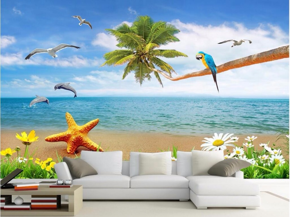 3d wallpaper custom mural non-woven photo Beautiful sea view beach with coconut painting 3d wall murals wallpaper for walls 3 d beautiful ocean
