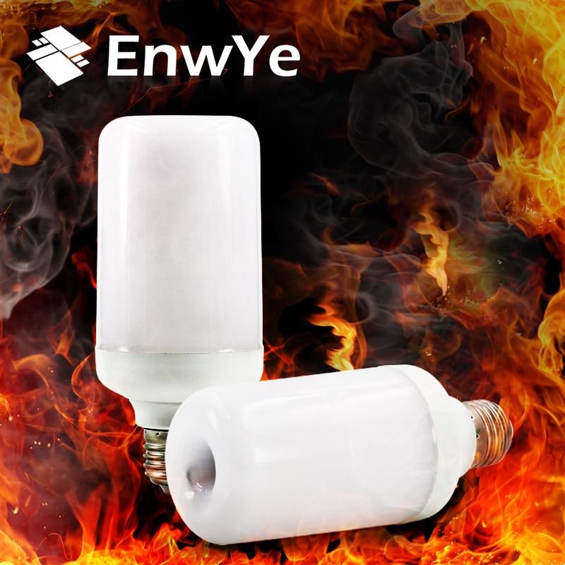 EnwYe E27 E26 LED Flame Lamps LED Flame Effect Light Bulb AC85-265V Flickering Emulation Fire Lights 7W Decorative Lamp