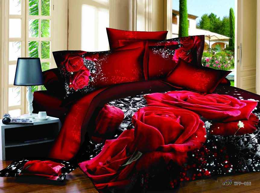 3d bedding sets queen oil painting print 3pcs bedclothes  flowers bed set Do not fade bed linen