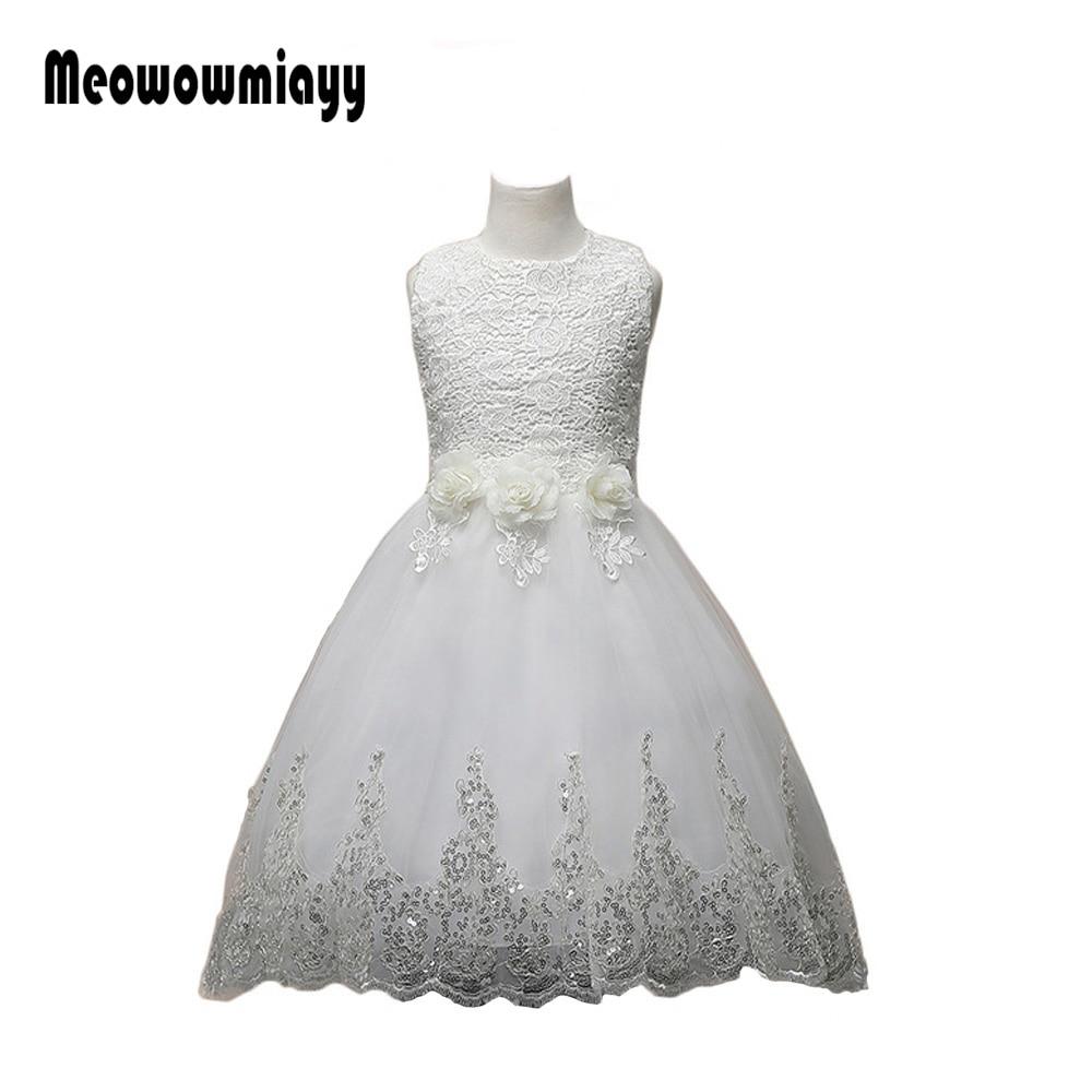 Girls clothes summer dress 2017 kids clothes white sleeveless vestido infantil Motto party wedding Princess flower girl dresses