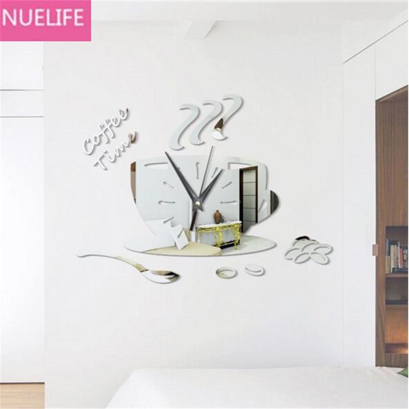 35x25 cm DIY koffiekopje ontwerp spiegel wandklok muur woonkamer - Huisdecoratie
