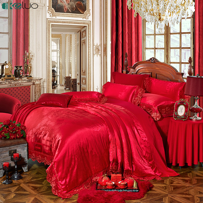 KELUO Wedding Luxury Satin Jacquard Bedding sets  Queen King size Duvet cover Bed sheet Pillow Sham Lace China Wedding RedKELUO Wedding Luxury Satin Jacquard Bedding sets  Queen King size Duvet cover Bed sheet Pillow Sham Lace China Wedding Red