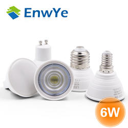 Enwye E27 E14 MR16 GU5.3 GU10 лампада светодио дный лампы 6 Вт 220 В Bombillas светодио дный лампа прожектор лампары пятно света