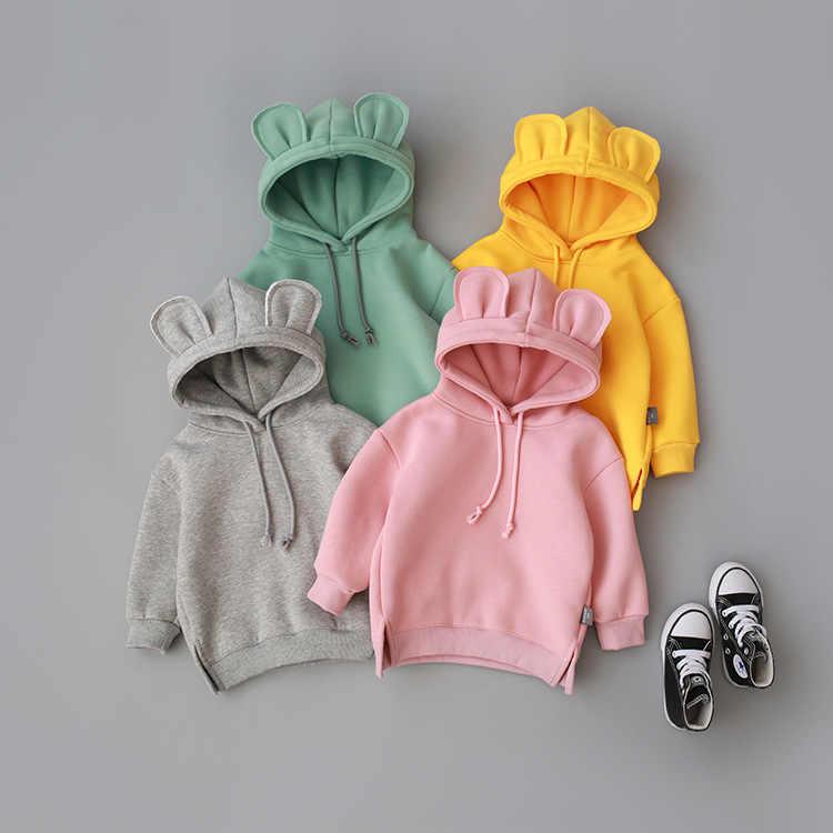 ฤดูหนาวเด็กวัยหัดเดินเด็กทารกเด็กผู้หญิง Hooded การ์ตูนหู Hoodie Sweatshirt Tops Roupa infantil สีเหลืองสีเทา Hoodies