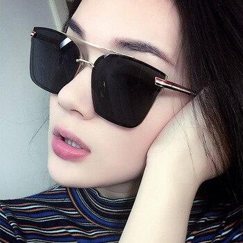 2019 New Sunglasses Women Men Oversized Square Glasses UV400 Vintage Brand Lady Rose Gold Cat Eye Designer Eyeglasses Twin-Beam