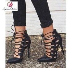 Original Intention Women Cross-tied Gladiator Pumps High Heels Shoes