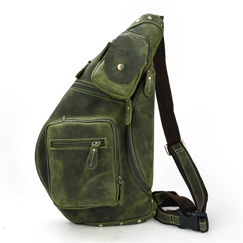 MAHEU Genuine Leather Men s Single Shoulder Back Pack Mens Chest Bag for iPad Cow leather