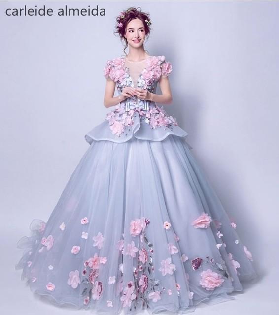 Robe de Mariee Oansatz 3D Blumen Ballkleid Boho Hochzeitskleid Braut ...