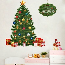 Happy New Year Tree Bells Gifts Wall Decals Home Decor Living Room Window Cartoon Wall stickers Merry Christmas Poster Mural Art цена в Москве и Питере