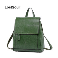 LostSoul female original leather backpack female leather natural oil wax backpacks for Teenage Girls travel school bolso mujer