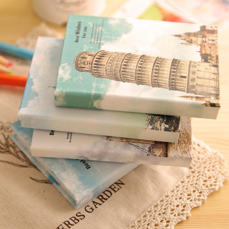 Kreativ Hardcover Memo Pad Posta Anteckningsblock Sticky Notes Arkitektur Stationery Dagbok Anteckningsblock Kontorsskola Tillbehör penna