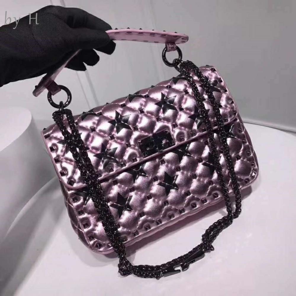 Par H RARE couleur chic femme sac à bandoulière en peau de mouton brillant violet étoile sac à main luxe designers or embrayage espace coloré totes