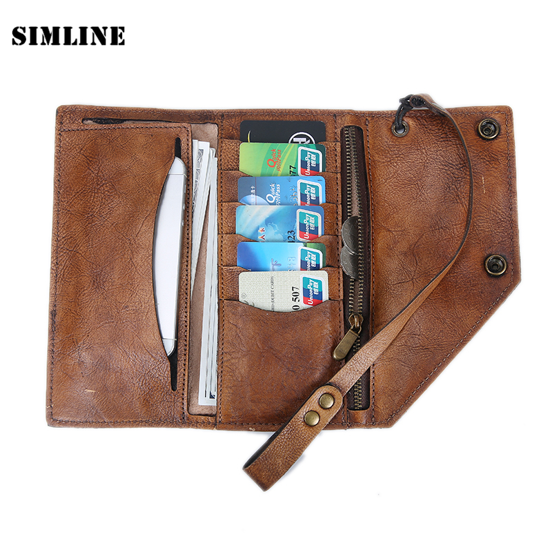 Brand Vintage Handmade Genuine Vegetable Tanned Leather Cowhide Men Mens Long Clutch Wallet Wallets Purse Card Holder With Chain genuine leather new classical vintage style men wallets fashion brand purse card holder wallet long clutch n348