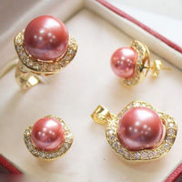hot sell new 10mm &14mm Hot Pink South sea Shell Pearl Earrings Ring Necklace Pendant Set NEW NEW